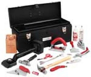 "Carpet Installation Tool Kit-Includes: 24"" metal tool box, deluxe knee kicker, GT conventional carpet trimmer, cushion back cutter, carpet seam roller, razor blade knife, utility knife, base molding lifter, leather tool puch, ripping hammer, napping shears, stair tool, seam adhesive applicator, chalk reel and white chalk refill"