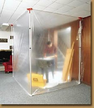 "The patented ZipWall® spring loaded barrier system consists of telescoping twist lock ZipWall® poles available in both twelve and twenty foot lengths. The system locks the screening material (ordinary plastic sheeting, light canvas tarp or drop cloth) firmly against the ceiling, creating a ""virtually airtight"" barrier. Once in place, just lift and tuck the screening material under the pole to create a tight barrier from top to bottom."
