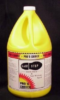 Last StepThis is a great product you won't be without once you experience its performance.  More than an acetic textile rinse.  This unique product works to remove cleaning agents from carpet and to reduce wicking and reoccurring spots.Dilution: Up to 1 oz. per gallon waterpH at dilution: 6Container Sizes: GallonForm: Liquid