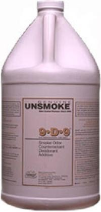 9-D-9® is a highly-concentrated general purpose smoke odor counteractant. 9-D-9® is specially formulated to counteract fire and related smoke odors. Mixing:Light smoke odors add: 1-3 ounces of 9-D-9® per gallon of lukewarm tap water. Moderate smoke odors add: 2-4 ounces of 9-D-9® per gallon of lukewarm tap water. Heavy smoke odors add: 4-6 ounces of 9-D-9®, 1-2 ounce of Last Resort per gallon of lukewarm tap water. Application:Spray onto source of odor with pressure sprayer. Add to wall and fiber cleaning solutions as needed. See label for additional instructions.