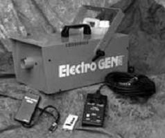 "ELECTRO-GEN® 2000 electric powered thermal fogging deviceThe ELECTRO-GEN® 2000 was designed with safety and performance in mind. The ELECTRO-GEN® 2000 uses water based UNSMOKE® THERMO-2000® formulations, a safer alternative to petroleum based products. The ELECTRO-GEN® 2000 is equipped with a thermostat controlled temperature sensor. The sensor reduces the risk of operator error and ""droplet fallout"" during fogging operations by disabling the fog switch until proper operating temperature is reached. The ELECTRO-GEN® 2000 delivers over 7,000 cubic feet of fog per minute. A Dual Action Control offers the choice of either Manual or Programmed operation. An optional wireless remote system for operator convenience is available.Specifications:Input power:120 volts: 60 megahertz or 220 Volts: 50 megahertz Heater:1000 watts Fuse Type:120 volts: 10 amperes or 220 Volts: 5 amperes Formulation Tank Capacity:2.5 liters Warm-up Period:Approximately 7 minutes Weight:18 pounds / 8 kilograms Dimensions:length 17"" width 8.5"" height 9.5"" Metric Dimensions: length 430cm width 210cm height 310cmTechnical features:Dual Purpose Stand and Mounting Bracket • Variable Dual Action Control: Fog interval adjustable from 10 seconds to 5 minutes • Fog duration adjustable from 1 to 12 second bursts • Optional wireless remote system available"